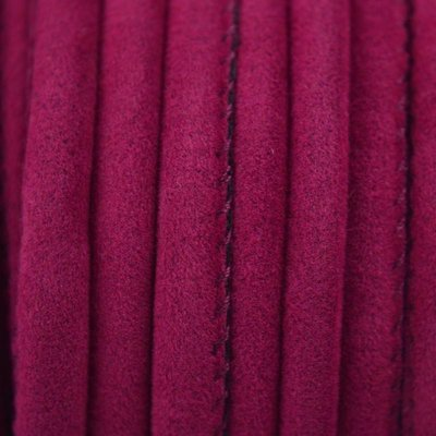 Roze Rond Stitched fluweel fuchsia ±8x5mm - per 10cm