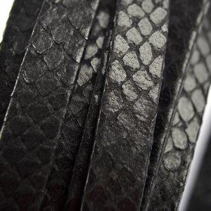 Zwart Plat leer snake skin zwart 10mm