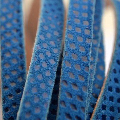 Blauw Plat leer met lak patroon blauw 6x2mm