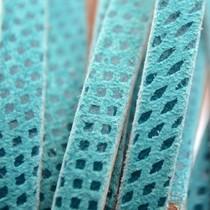 Turquoise Plat leer met lak patroon turquoise blauw 6x2mm