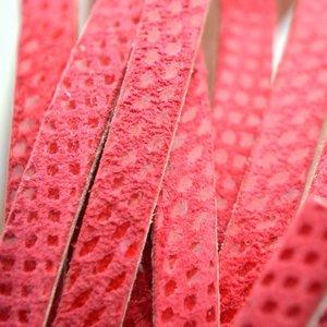 Rood Plat leer met lak patroon koraal rood 6x2mm