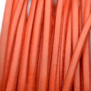 Oranje Plat leer koraal oranje 3x1mm