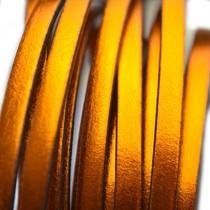 Oranje Plat leer metallic oranje koper 5x1,5mm - prijs per cm