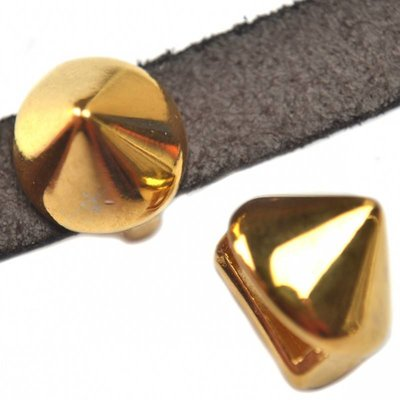 Goud Leerschuiver spike Ø10x2.5mm metaal goud DQ 13mm