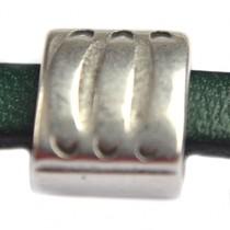 Zilver Leerschuiver Ø6x2mm vierkant metaal zilver DQ 9mm