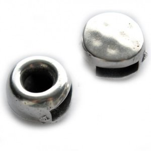 Zilver Leerschuiver rond Ø6x2mm metaal zilver DQ 9,5mm