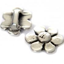 Zilver Leerschuiver bloem Ø10x2mm leer metaal zilver DQ 21mm