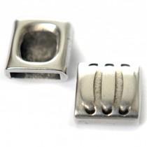 Zilver Leerschuiver rechthoek Ø10x2mm leer metaal zilver DQ 14mm