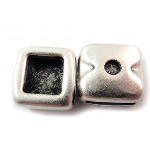 Zilver Leerschuiver vierkant Ø13x2mm metaal zilver DQ 16mm