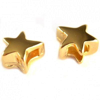 Goud Leerschuiver ster Ø6x2.5mm metaal goud DQ 13mm