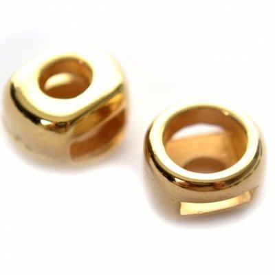Goud Leerschuiver rond Ø6x2mm leer metaal goud DQ 11mm