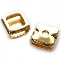Goud Leerschuiver rechthoek  Ø10x2mm leer metaal goud DQ13mm