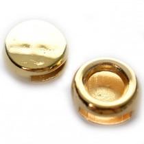 Goud Leerschuiver rond Ø10x2mm leer metaal goud DQ 14mm