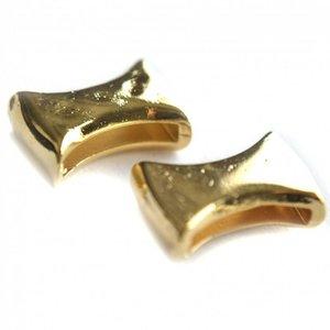 Goud Leerschuiver diabola Ø13x2mm metaal goud DQ 12x18mm