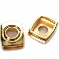 Goud Leerschuiver rechthoek Ø13x2mm leer metaal goud DQ 20x18mm