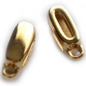 Goud Leerschuiver met oog Ø10x2mm metaal goud DQ 13x6mm