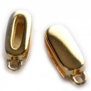 Goud Leerschuiver met oog Ø13x2mm metaal goud DQ 17x7mm