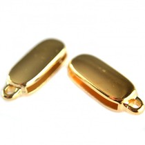 Goud Leerschuiver met oog Ø20x2mm metaal goud DQ 24x10mm