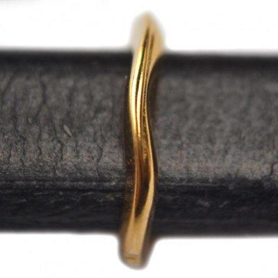Goud Leerschuiver Ø10x6mm metaal goud DQ 13mm