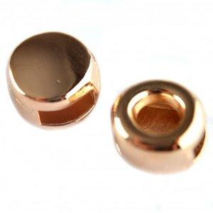 Rosegoud Leerschuiver rond Ø6x2.5mm metaal Rosegoud DQ 9,5mm