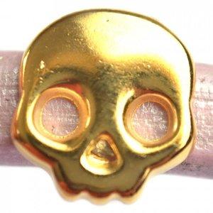 Goud Leerschuiver Ø10x6mm skull metaal goud DQ 17mm