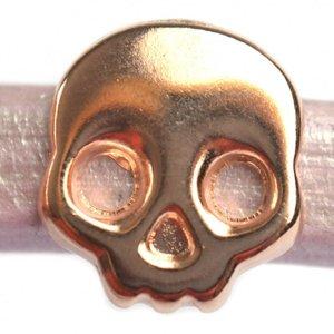 Rosegoud Leerschuiver Ø10x6mm skull metaal Rosegoud DQ 17mm