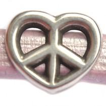 Zilver Leerschuiver Ø10x6mm hart peace metaal zilver DQ 19x16mm