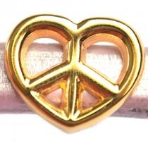 Goud Leerschuiver Ø10x6mm hart peace metaal goud DQ 19x16mm