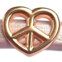 Rosegoud Leerschuiver Ø10x6mm hart peace metaal roségoud DQ 19x16mm