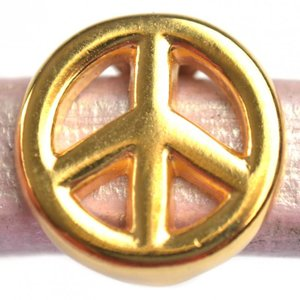 Goud Leerschuiver Ø10x6mm peace metaal goud DQ 15mm
