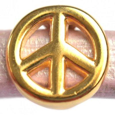 Goud Leerschuiver Ø10x6mm peace metaal goud DQ 15mm