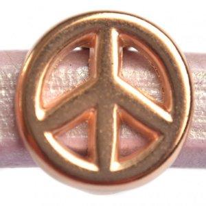 Rosegoud Leerschuiver Ø10x6mm peace metaal Rosegoud DQ 15mm