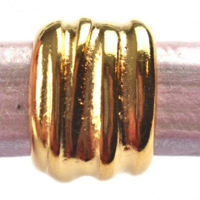 Goud Leerschuiver Ø10x6mm strepen metaal goud DQ 11x15mm