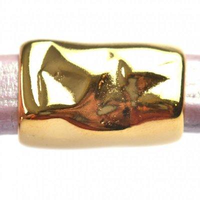 Goud Leerschuiver Ø10x6mm langwerpig metaal goud DQ 21x13mm