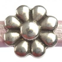 Zilver Leerschuiver Ø10x6mm bloem metaal zilver DQ 20mm