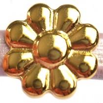 Goud Leerschuiver Ø10x6mm bloem metaal goud DQ 20mm
