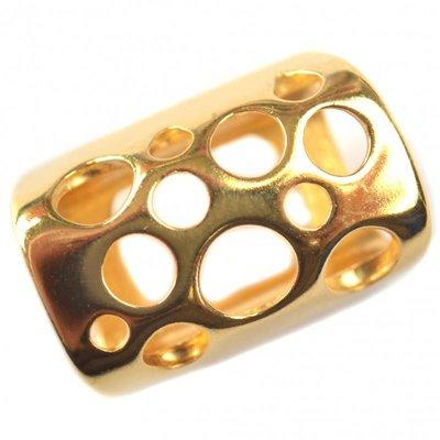 Goud Leerschuiver Ø10x6mm bubbels metaal goud DQ 22x15mm