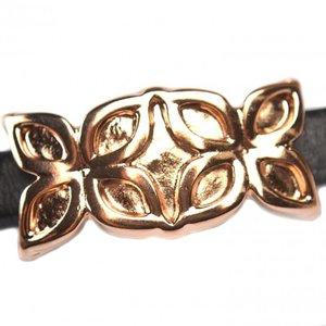Rosegoud Leerschuiver Ø10x6mm metaal Rose goud DQ 37x19mm