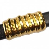 Goud Leerschuiver Ø10x6mm metaal goud DQ 26x14mm