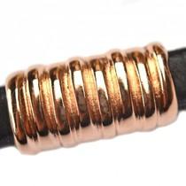Rosegoud Leerschuiver Ø10x6mm metaal rosé goud DQ 26x14mm