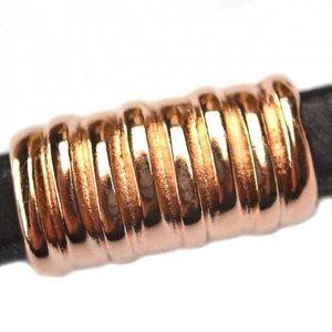 Rosegoud Leerschuiver Ø10x6mm metaal Rose goud DQ 26x14mm