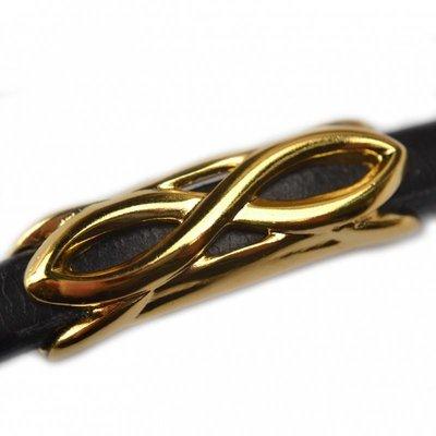 Goud Leerschuiver infinity Ø10x6mm metaal goud DQ 45x14mm