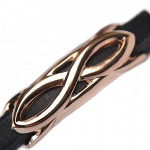 Rosegoud Leerschuiver infinity Ø10x6mm metaal Rose goud DQ 45x14mm