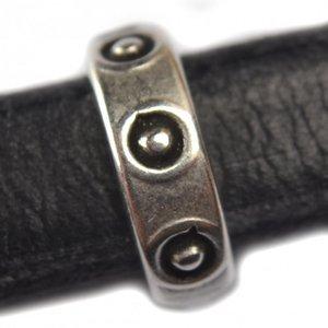 Zilver Leerschuiver Ø10x6mm metaal zilver DQ 14x4mm