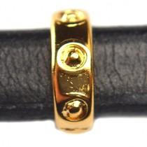 Goud Leerschuiver Ø10x6mm metaal goud DQ 4x14mm