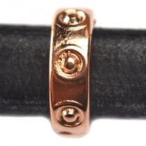 Rosegoud Leerschuiver Ø10x6mm metaal rosé goud DQ 14x4mm