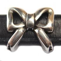 Zilver Leerschuiver strik Ø10x6mm metaal zilver DQ 15mm
