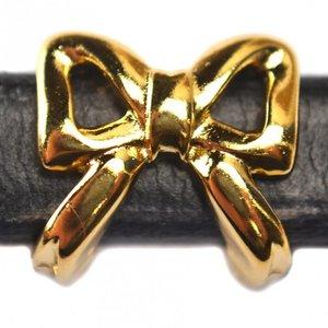 Goud Leerschuiver strik Ø10x6mm metaal goud DQ 15mm