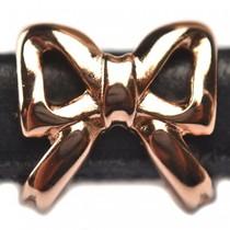 Rosegoud Leerschuiver strik Ø10x6mm metaal rosé goud DQ 15mm