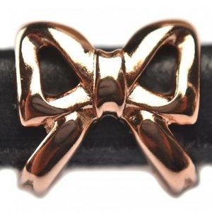 Rosegoud Leerschuiver strik Ø10x6mm metaal Rose goud DQ 15mm